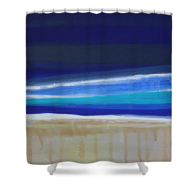 Abstract Painting Shower Curtain featuring the painting Ocean Blue by Linda Woods