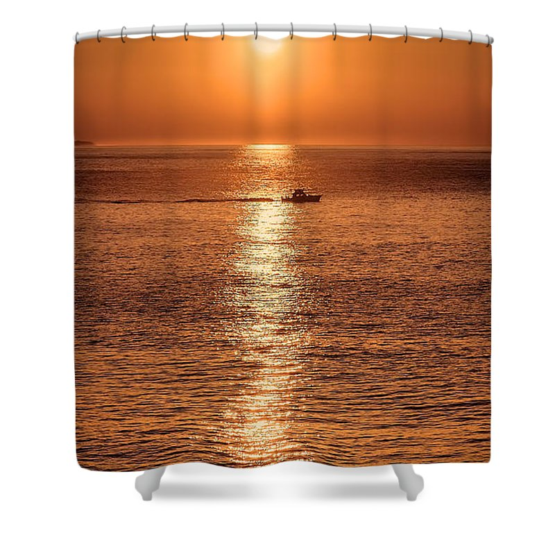Montauk Shower Curtain featuring the photograph Ocean Sunrise At Montauk Point by William Jobes