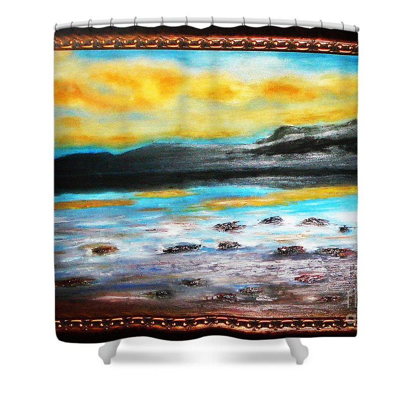 Oil Painting Shower Curtain featuring the painting Ocean View by Yael VanGruber