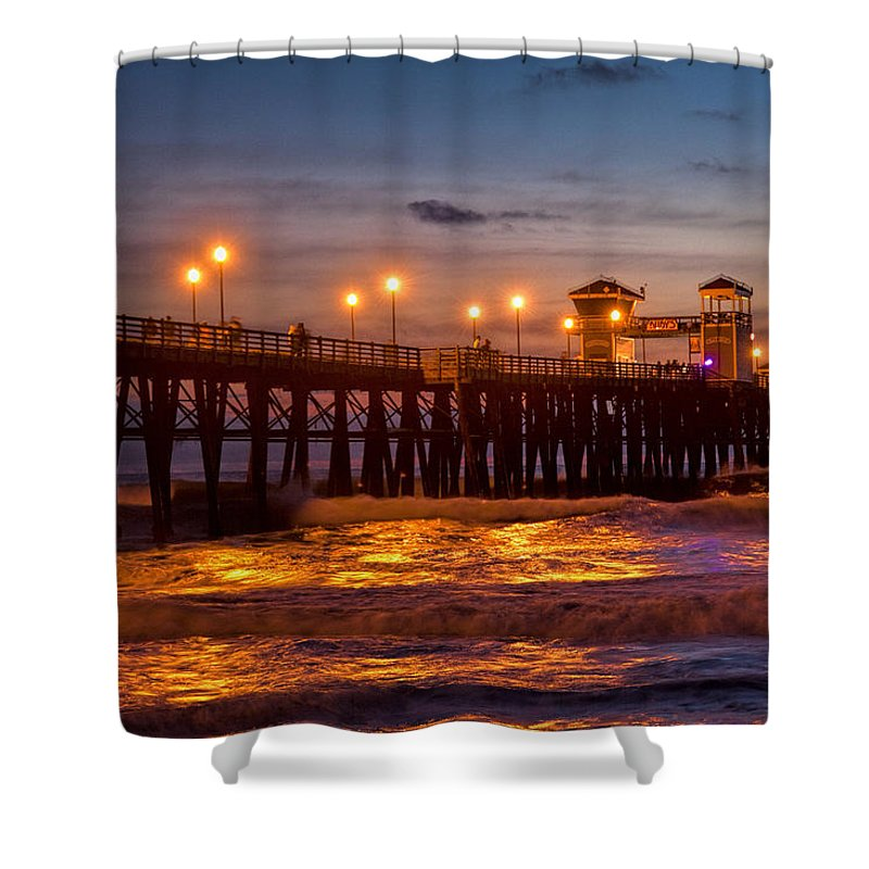 Oceanside Pier Shower Curtain featuring the photograph Oceanside Evening by Diana Powell
