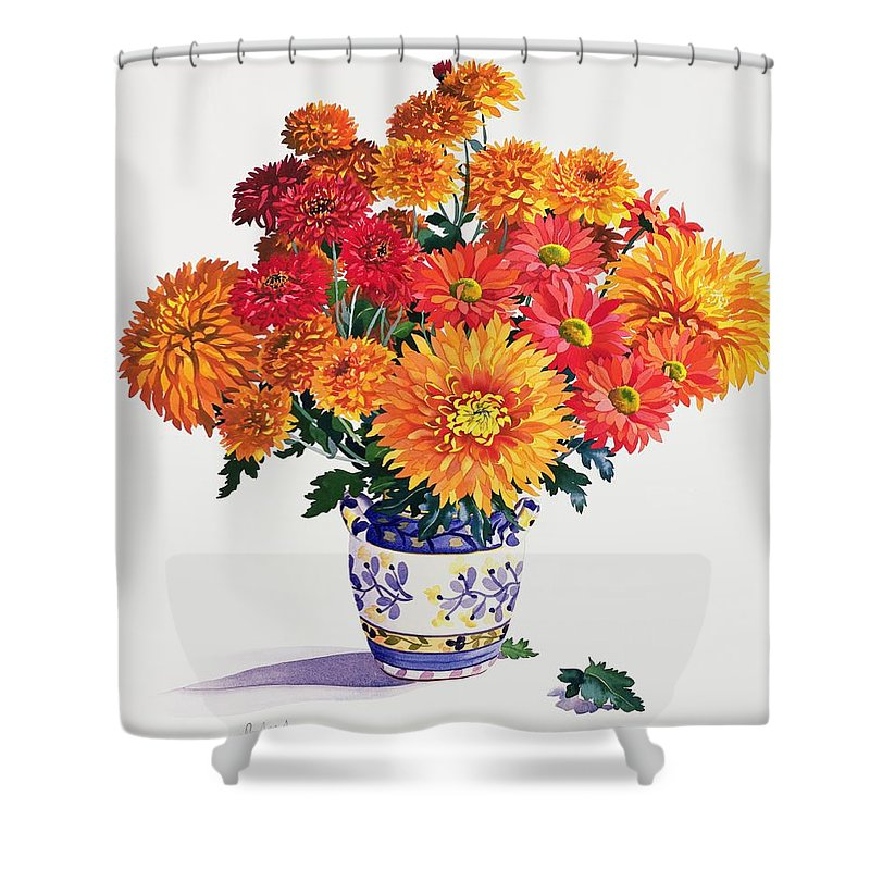 Chrysanthemum Shower Curtain featuring the painting October Chrysanthemums by Christopher Ryland