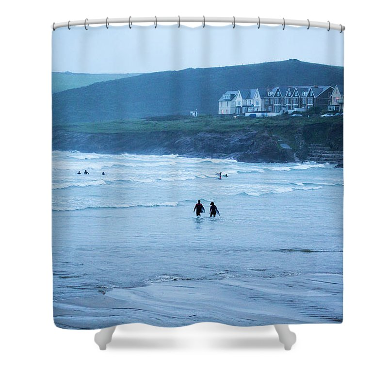 Built Structure Shower Curtain featuring the photograph October Evening Surf by Landscapes, Seascapes, Jewellery & Action Photographer