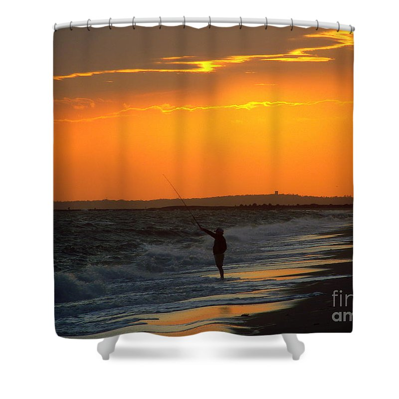 October Shower Curtain featuring the photograph October Fishing by CapeScapes Fine Art Photography