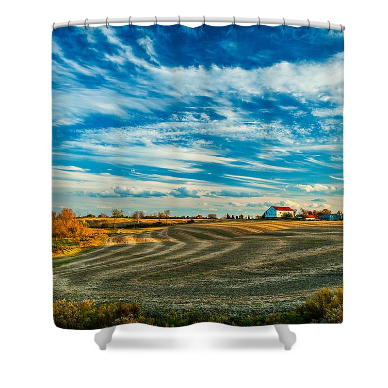 Landscape Shower Curtain featuring the photograph October Patterns by Steve Harrington