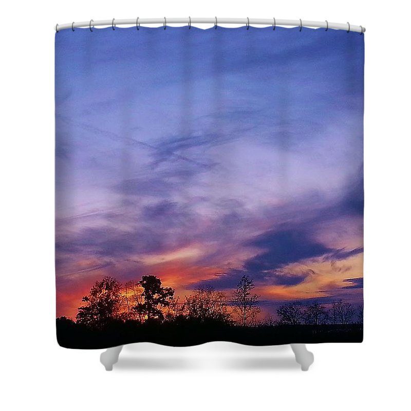 Landscape Shower Curtain featuring the photograph October Sky by Amanda Edwards