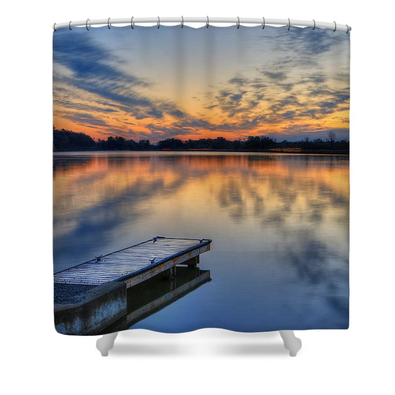 Lake White Shower Curtain featuring the photograph October Sunrise At Lake White by Jaki Miller