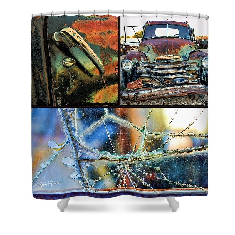 Collage Truck Shower Curtain featuring the photograph Ode To Old Truck by Sylvia Thornton