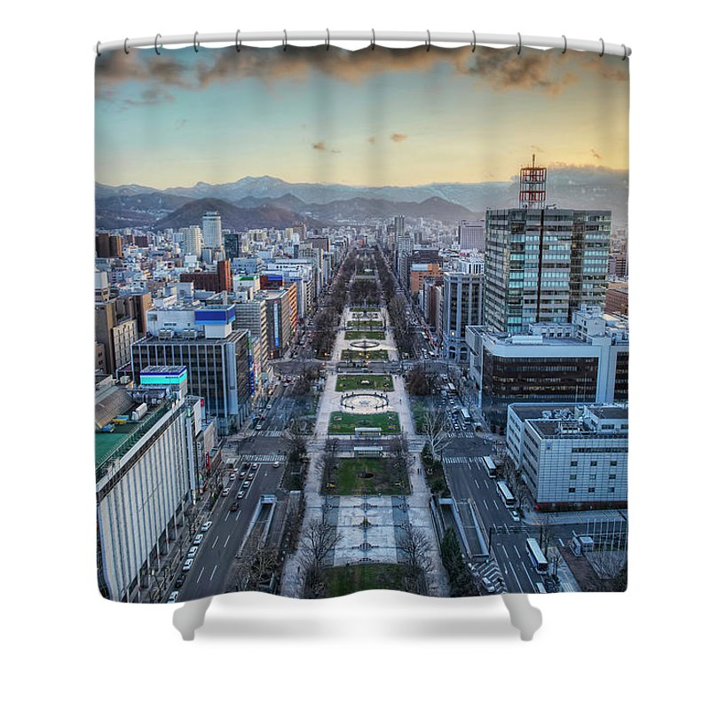 Hokkaido Shower Curtain featuring the photograph Odori Park Sunset by Daniel Chui