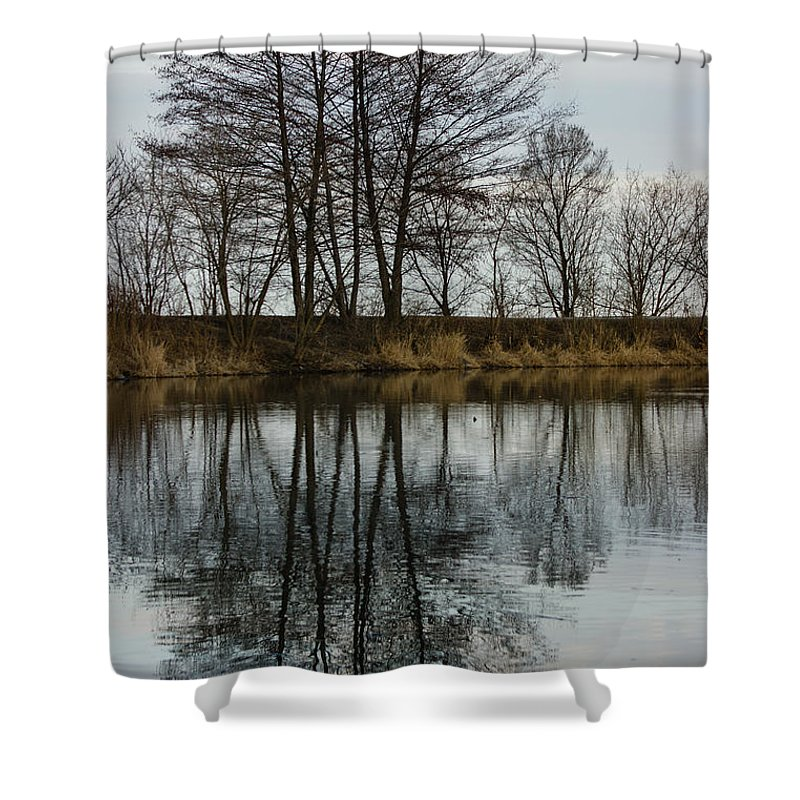Reflections Shower Curtain featuring the photograph Of Mirrors And Trees by Georgia Mizuleva