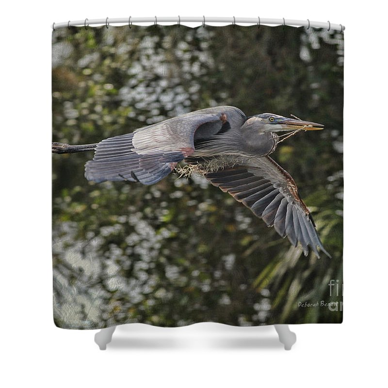 Heron Shower Curtain featuring the photograph Off To The Nest 2012 by Deborah Benoit