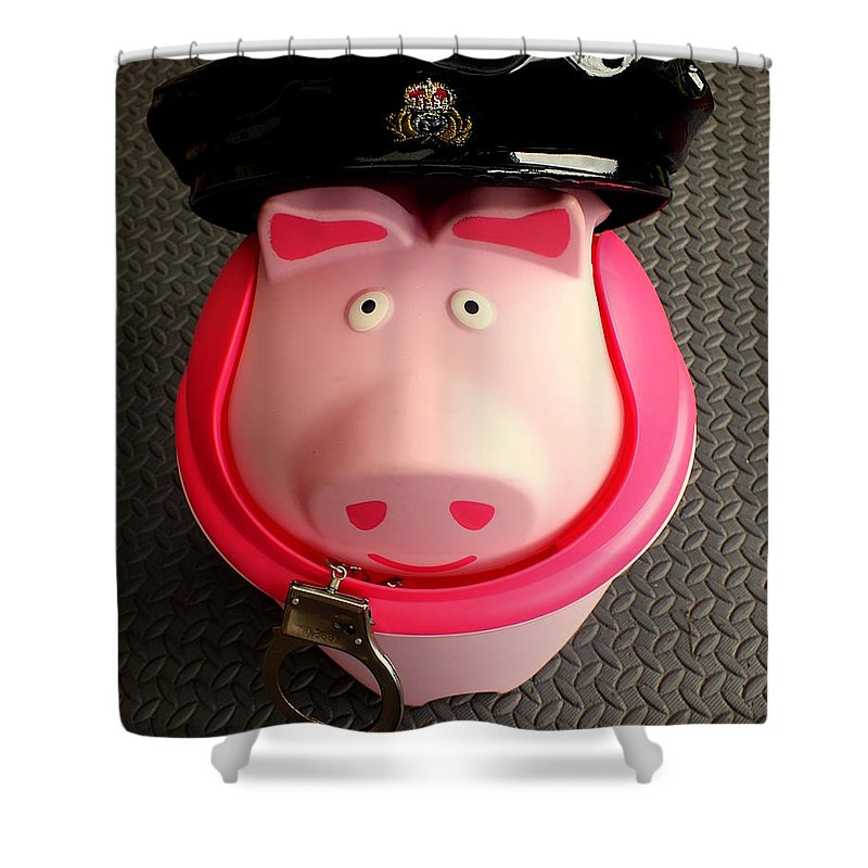 Pig Police Constable Handcuffs Hat Dustbin Donut Shower Curtain featuring the photograph Officer Bacon Wants A Doughnut by Guy Pettingell