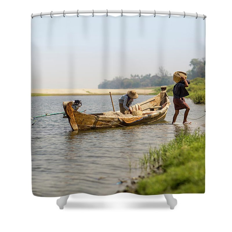Working Shower Curtain featuring the photograph Offloading Construction Details From by Merten Snijders