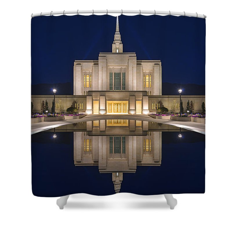 Temple Shower Curtain featuring the photograph Ogden Temple Reflection by Dustin LeFevre