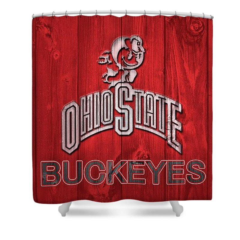 Ohio State University Shower Curtain featuring the mixed media Ohio State Buckeyes Barn Door by Dan Sproul
