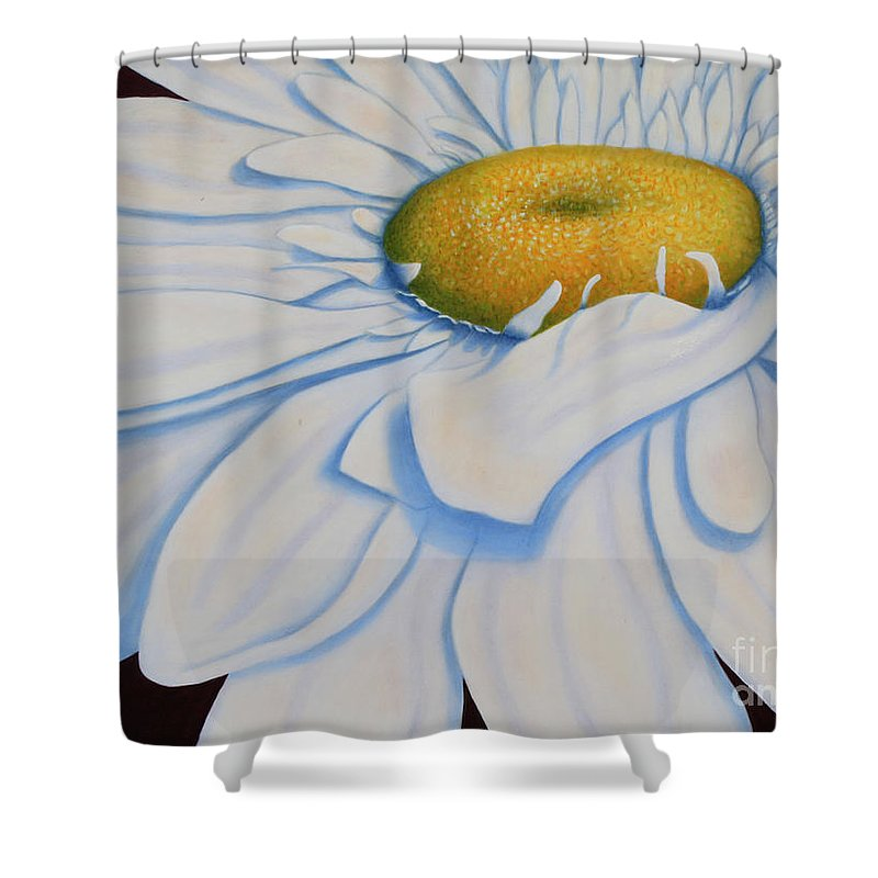 Roena King Shower Curtain featuring the painting Oil Painting - Daisy by Roena King