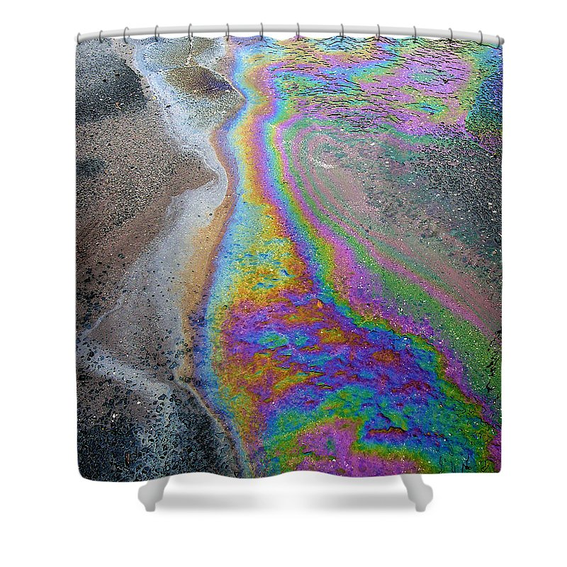 Photography Shower Curtain Featuring The Photograph Oil Slick On Water By Panoramic Images