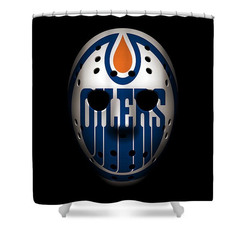 Oilers Shower Curtain featuring the photograph Oilers Goalie Mask by Joe Hamilton