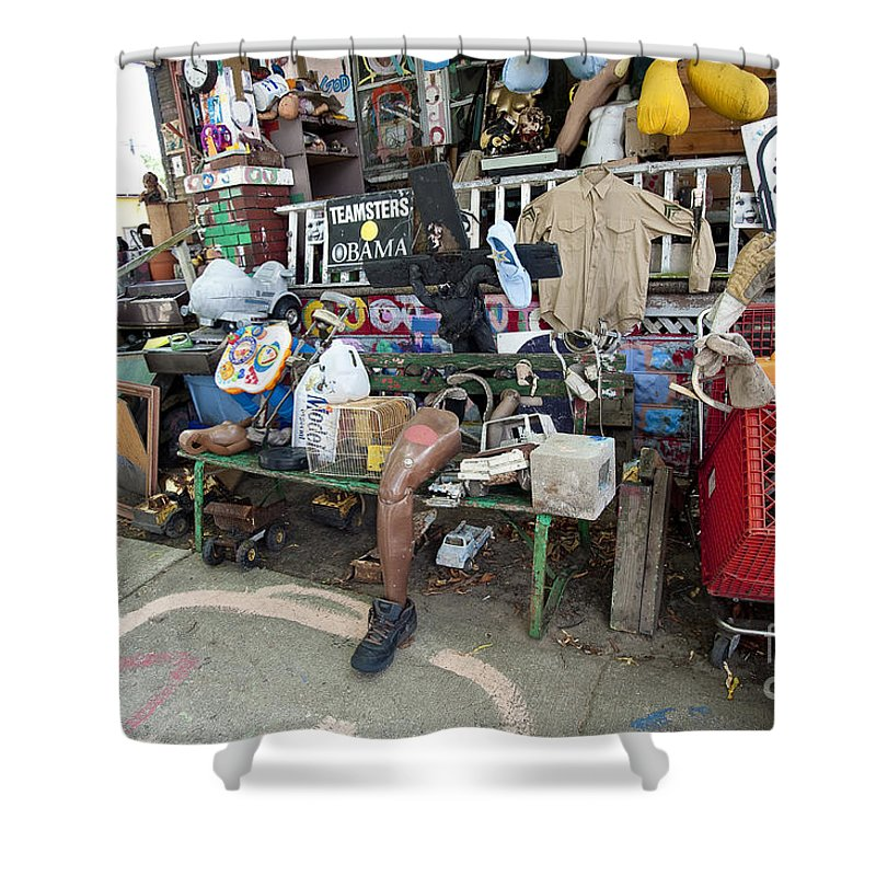 Heidelberg Project Shower Curtain featuring the photograph Oj House Detail 2 by Steven Dunn