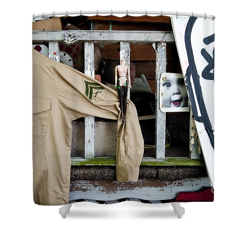 Heidelberg Project Shower Curtain featuring the photograph Oj House Detail 4 by Steven Dunn
