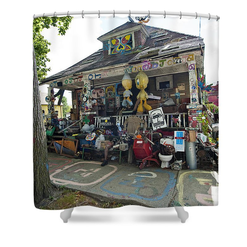 Heidelberg Project Shower Curtain featuring the photograph Oj House by Steven Dunn