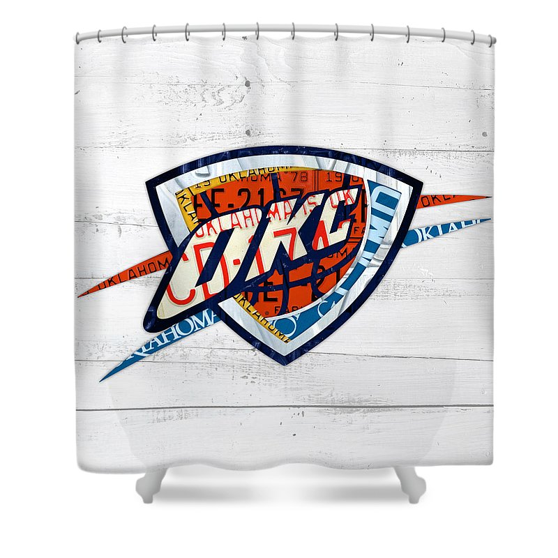 Okc Shower Curtain featuring the mixed media Okc Thunder Basketball Team Retro Logo Vintage Recycled Oklahoma License Plate Art by Design Turnpike