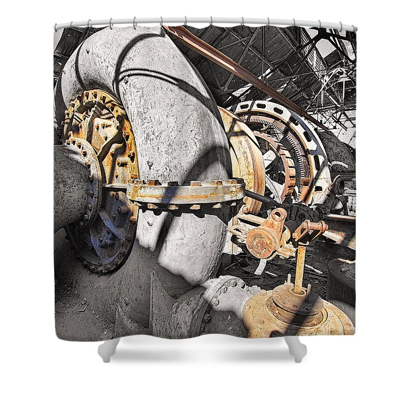 Power Shower Curtain featuring the photograph Old Abandoned Hydro Electric Powerhouse by Jit Lim