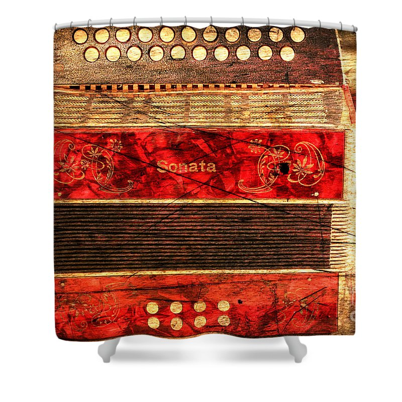 Music Shower Curtain Featuring The Photograph Old Accordion