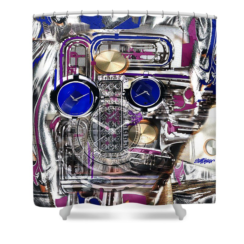 Robotic Time Traveller Shower Curtain featuring the digital art Old Blue Eyes by Seth Weaver