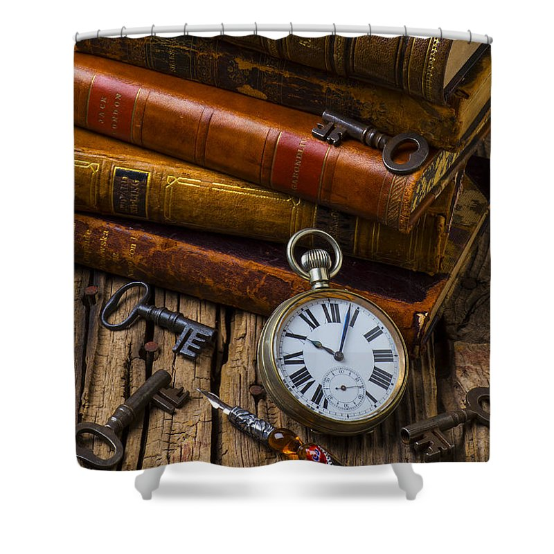 Key Shower Curtain featuring the photograph Old Books And Pocketwatch by Garry Gay