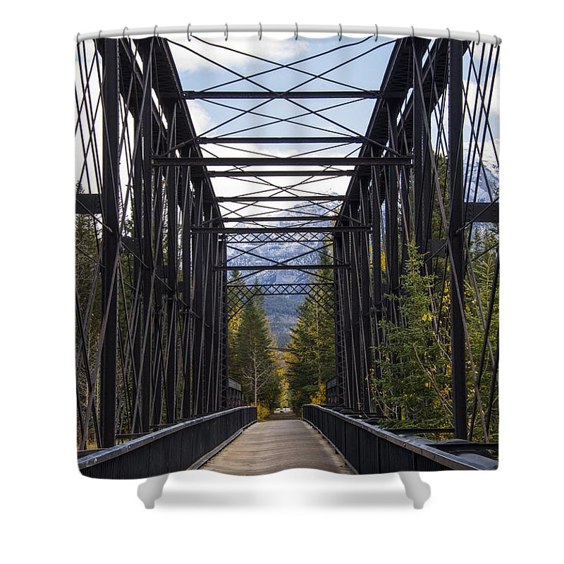 Canmore Canada Iron Bridge Railroad Bridges Trestle Trestles Architecture Mountain Mountains Cloud Clouds Shower Curtain featuring the photograph Old Canmore Railroad Bridge by Bob Phillips