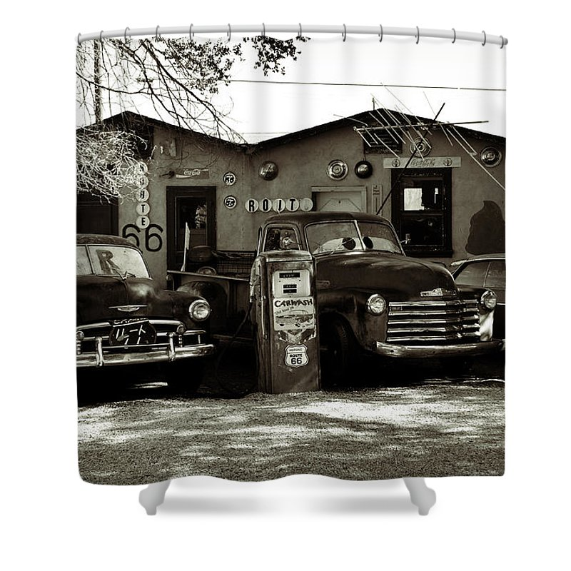 Old Cars On Route 66 Shower Curtain for Sale by RicardMN Photography