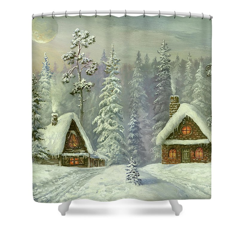 Art Shower Curtain featuring the digital art Old Christmas Card by Pobytov