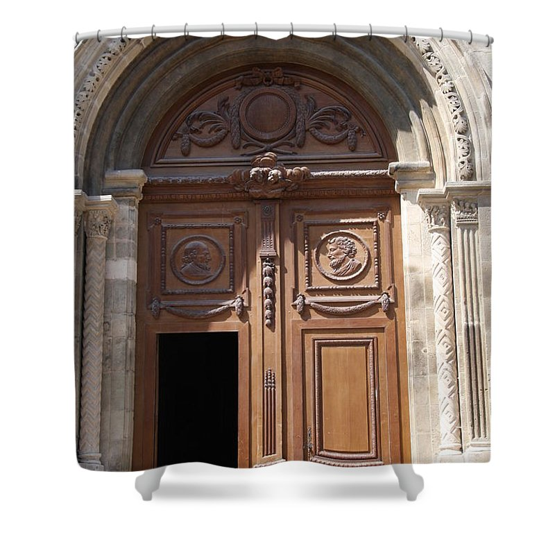 Door Shower Curtain featuring the photograph Old Church Door Cathedral Autun by Christiane Schulze Art And Photography