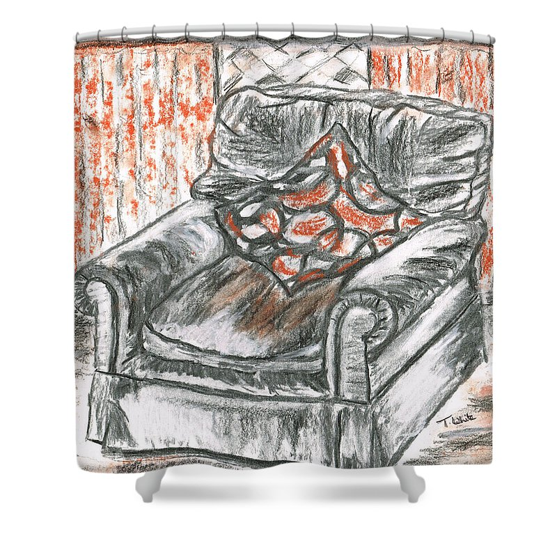 Teresa White Old Shower Curtain featuring the drawing Old Cozy Chair by Teresa White