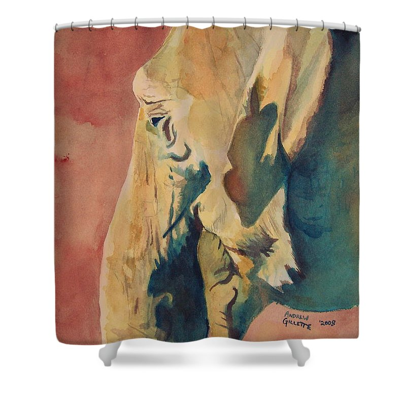 Elephant Shower Curtain featuring the painting Old Elephant by Andrew Gillette
