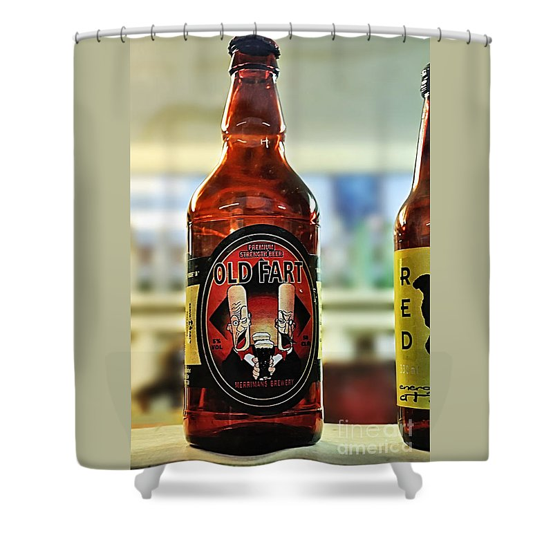 Photography Shower Curtain Featuring The Photograph Old Fart Beer By Kaye Menner