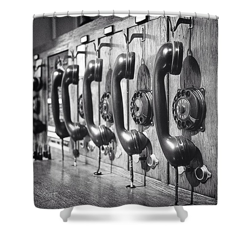 In A Row Shower Curtain featuring the photograph Old-fashioned Wooden Telephone by Anja Heid / Eyeem