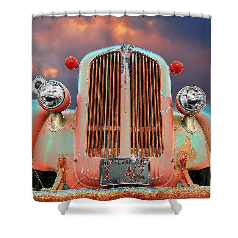 Truck Shower Curtain featuring the photograph Old Firefighter by Ron Day