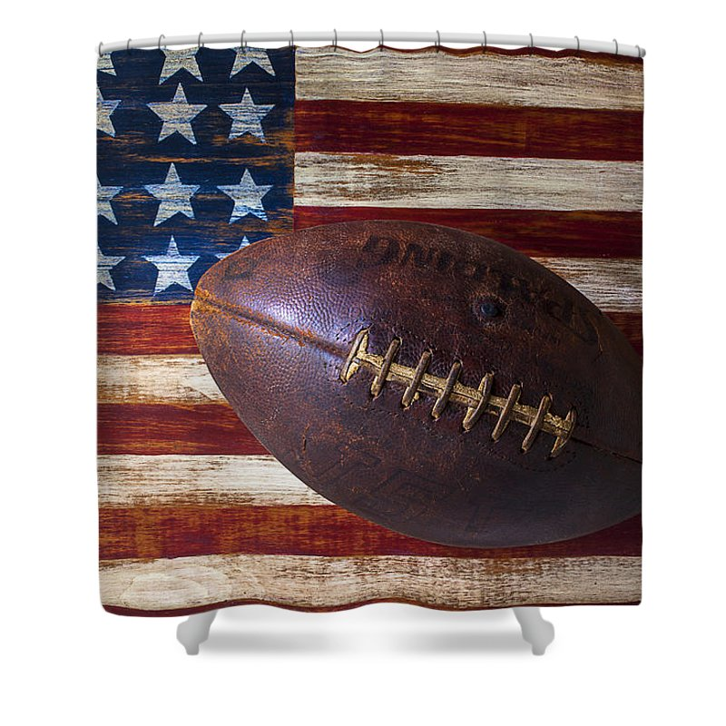 Football Shower Curtain featuring the photograph Old Football On American Flag by Garry Gay