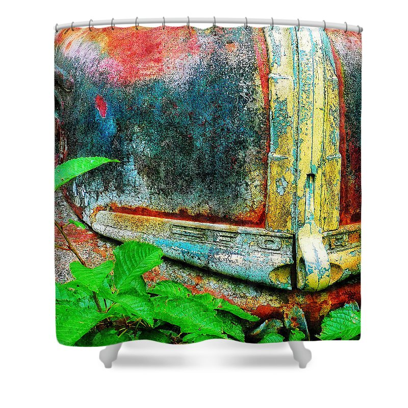 Old Shower Curtain featuring the painting Old Ford #1 by Sandy MacGowan