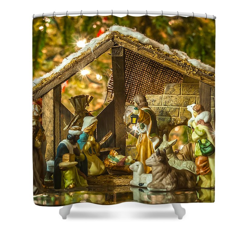 Christmas Shower Curtain Featuring The Photograph Old Handmade Nativity Scene In Front Of A Tree