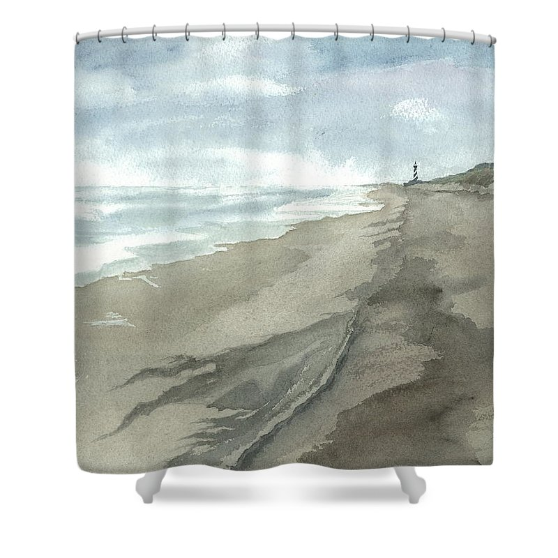 Obx Shower Curtain featuring the painting Old Hatteras Light by Joel Deutsch