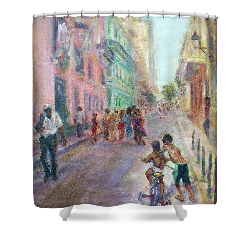 Impressionism Shower Curtain featuring the painting Old Havana Street Life - Sale - Large Scenic Cityscape Painting by Quin Sweetman