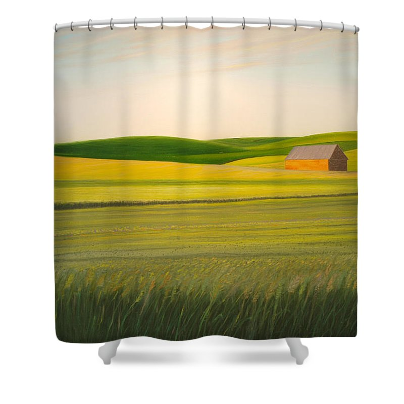 Wheat Shower Curtain featuring the painting Old Highway 95 by Leonard Heid