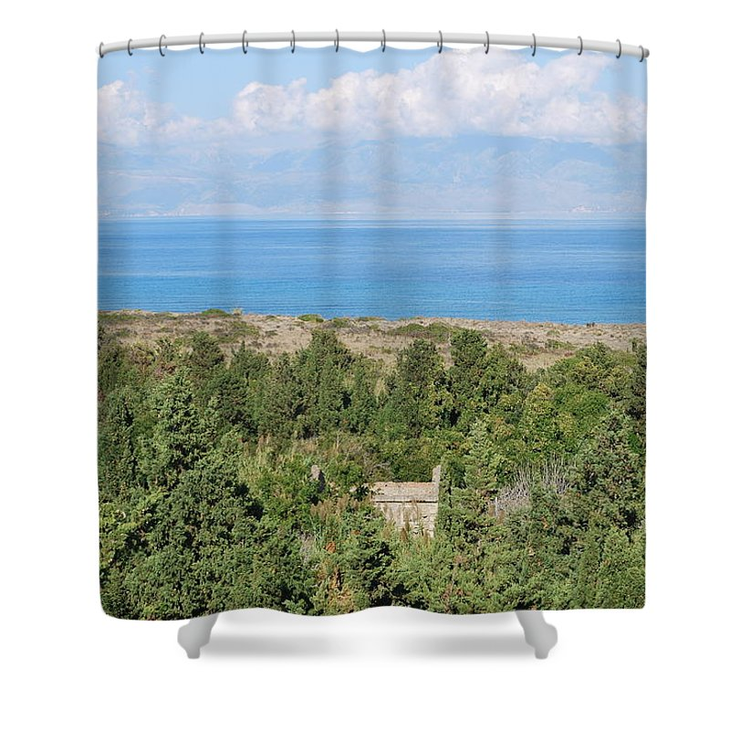 Erikousa Shower Curtain featuring the photograph Old House By The Beach by George Katechis