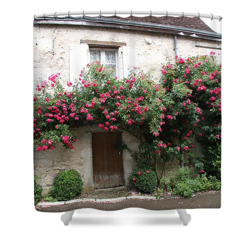 Rose Shower Curtain featuring the photograph Old House Covered With Roses by Christiane Schulze Art And Photography