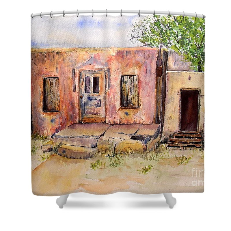 Home Shower Curtain featuring the painting Old House In Clovis Nm by Vicki Housel