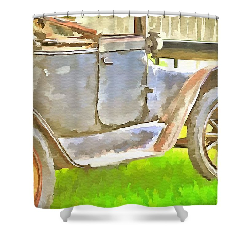 Old Jalopy Shower Curtain featuring the painting Old Jalopy by L Wright