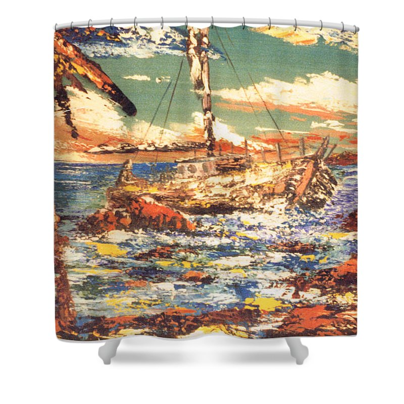 Boat Shower Curtain featuring the painting Old Man In The Boat by Keith Spence