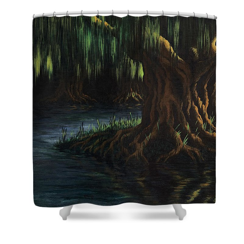Abstract Shower Curtain featuring the painting Old Man Willow by Rachel Christine Nowicki